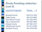 florida permitting authorities cont d