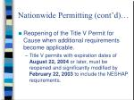 nationwide permitting cont d
