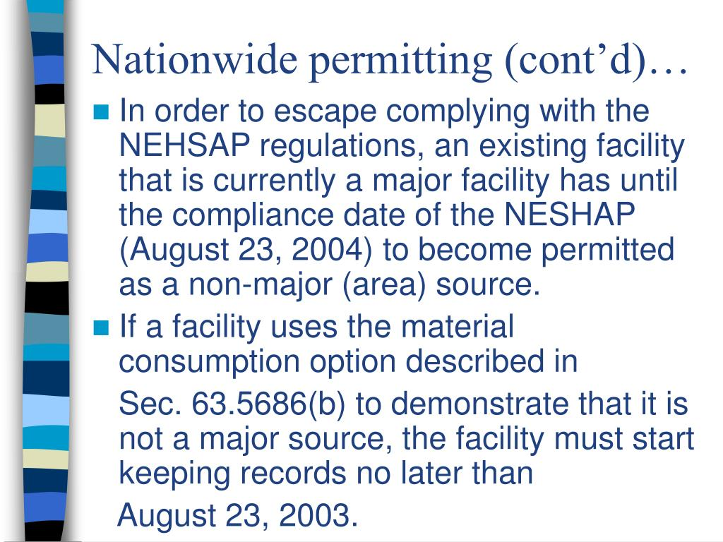 Nationwide permitting (cont'd)…