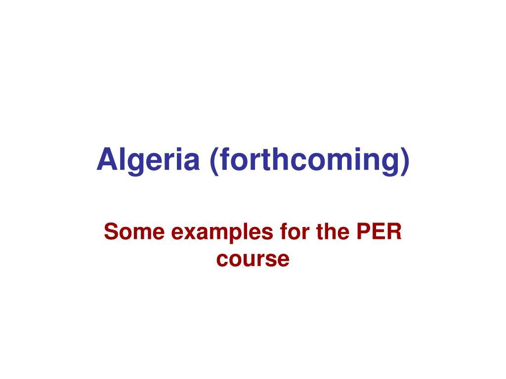 Algeria (forthcoming)