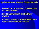 hydrocarbons reforms objectives 1