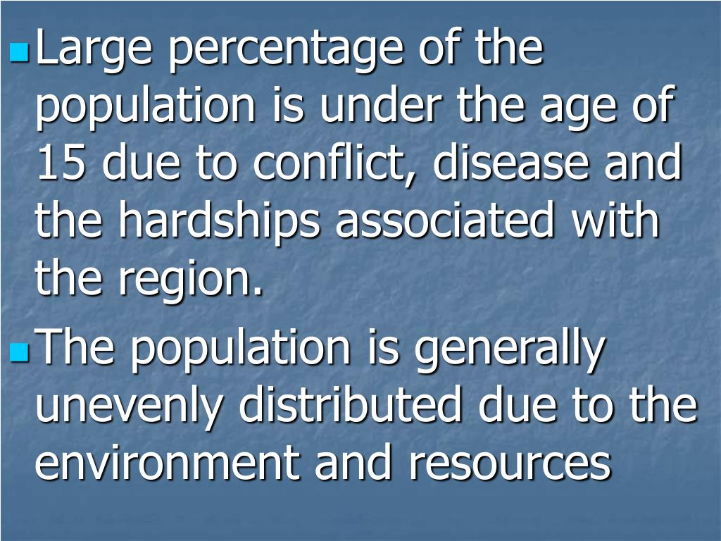 Large percentage of the population is under the age of 15 due to conflict, disease and the hardships associated with the region.