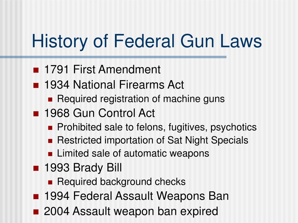 History of Federal Gun Laws