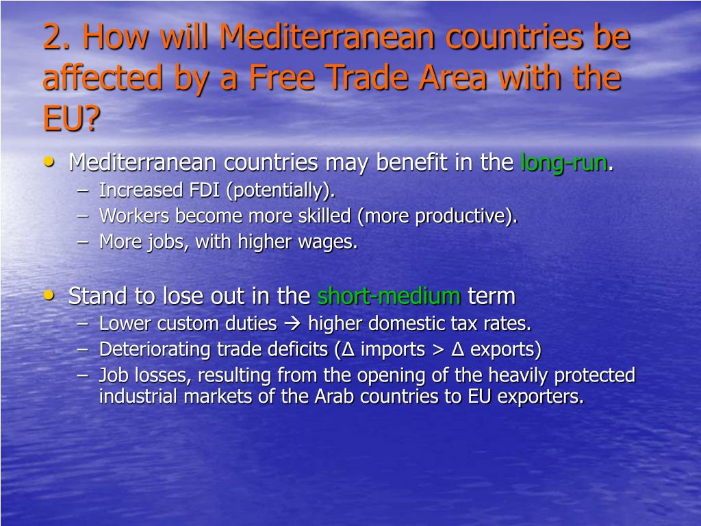 2. How will Mediterranean countries be affected by a Free Trade Area with the EU?