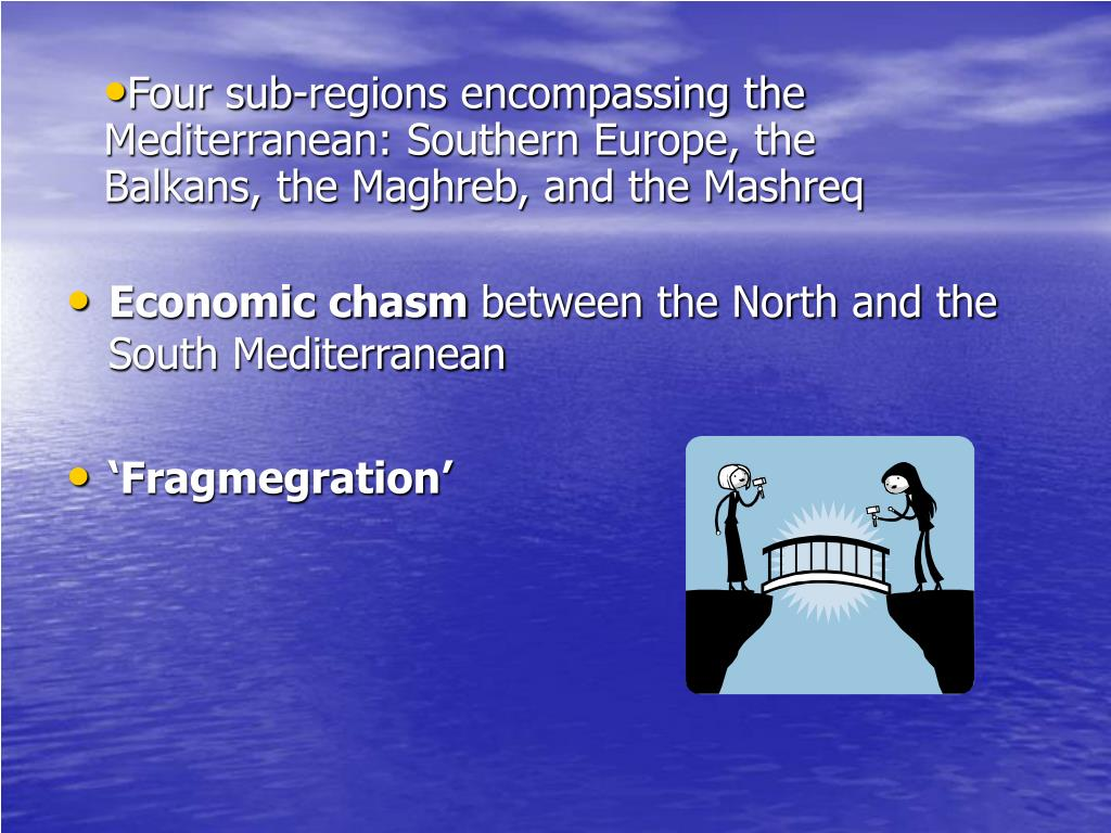 Four sub-regions encompassing the Mediterranean: Southern Europe, the Balkans, the Maghreb, and the Mashreq