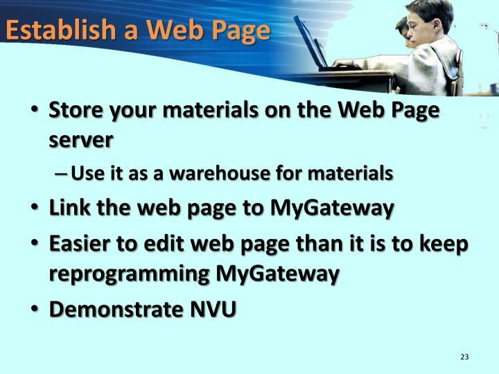 Establish a Web Page