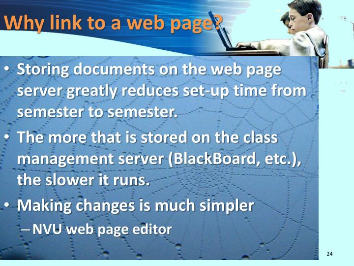 Why link to a web page?
