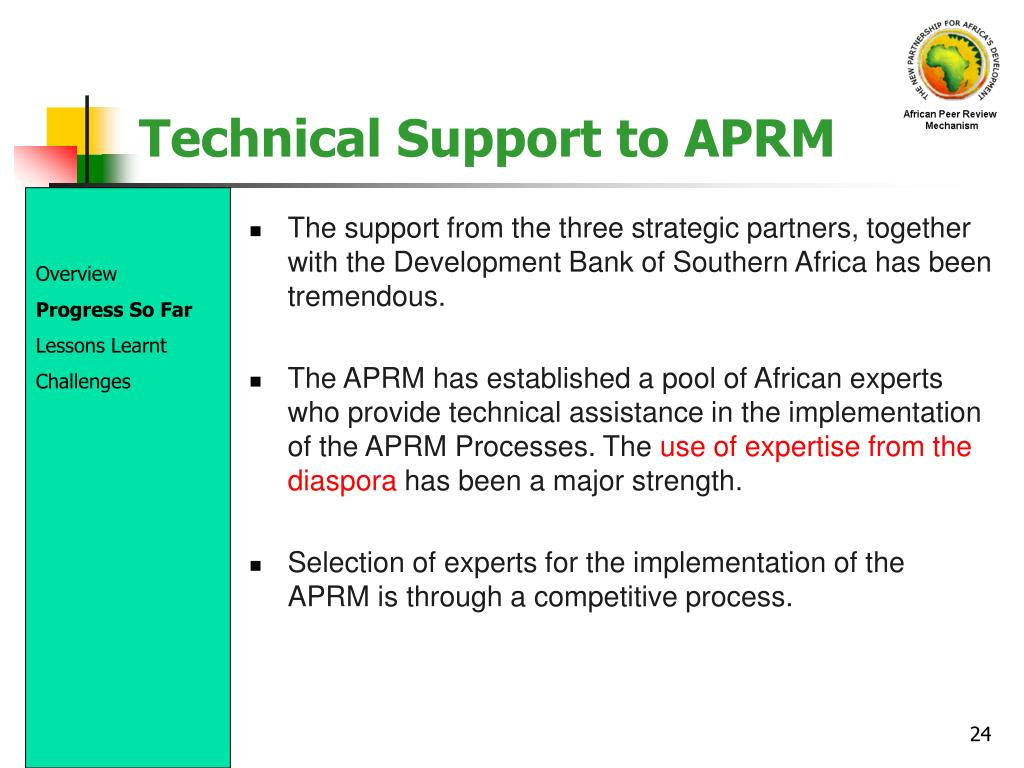 Technical Support to APRM