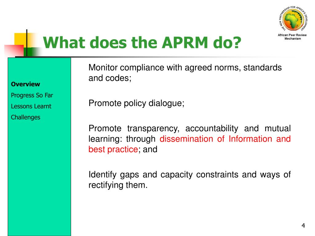 What does the APRM do?
