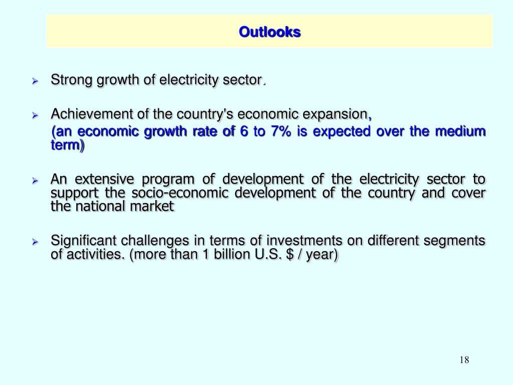 Strong growth of electricity sector