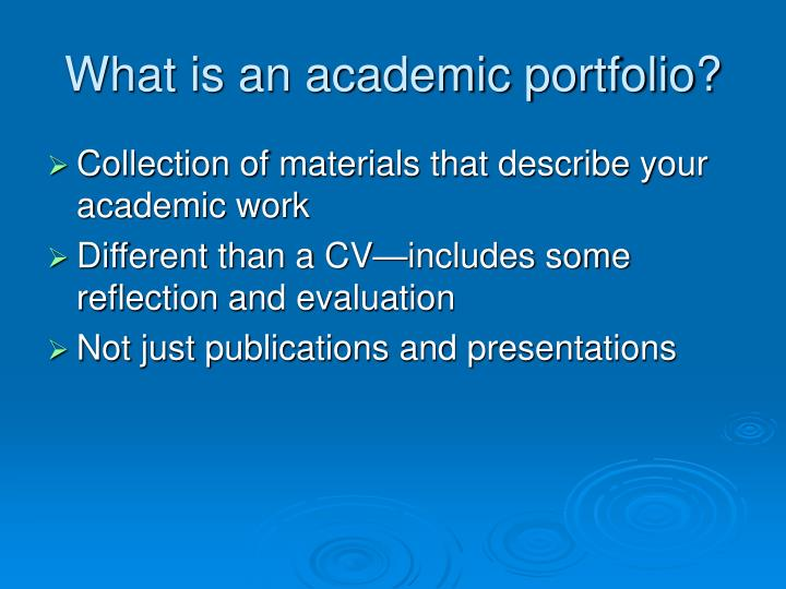 What is an academic portfolio