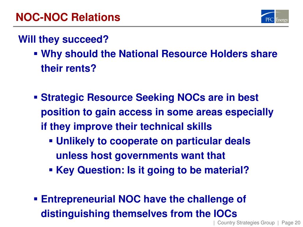 NOC-NOC Relations