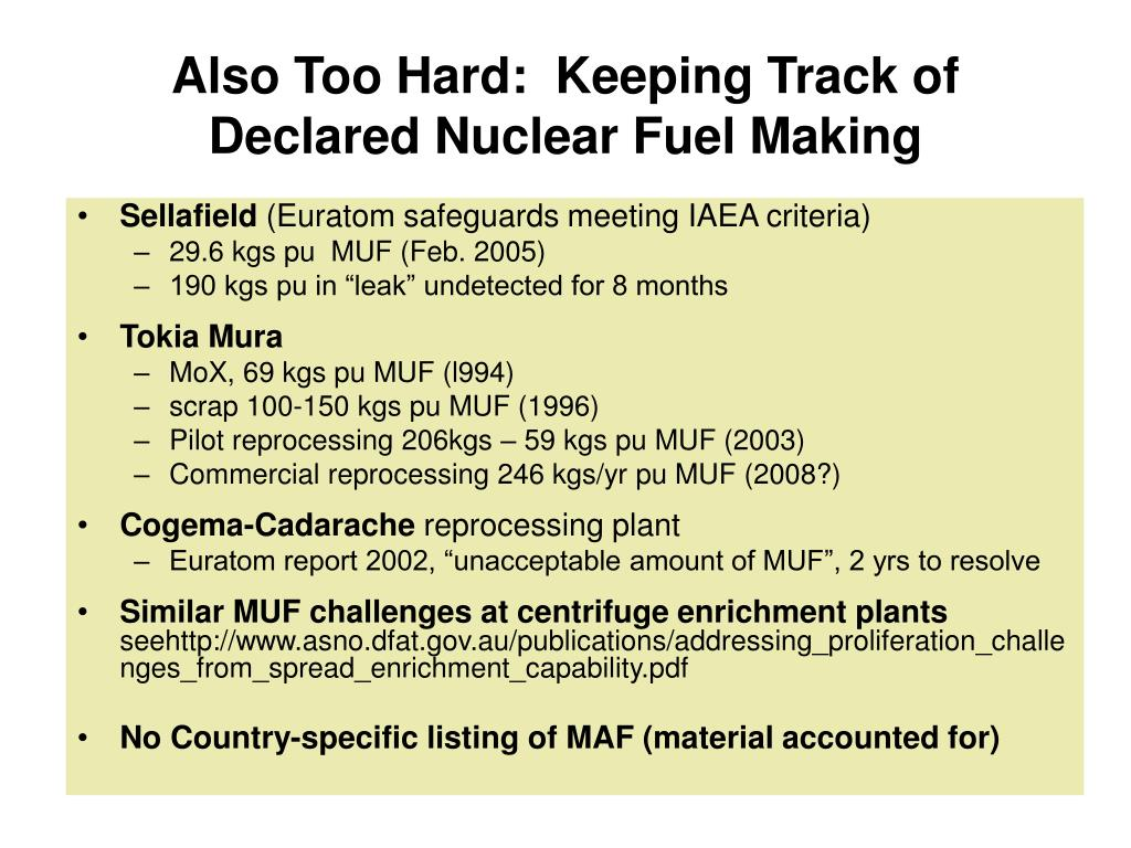 Also Too Hard:  Keeping Track of Declared Nuclear Fuel Making