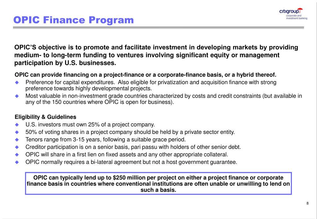 OPIC Finance Program