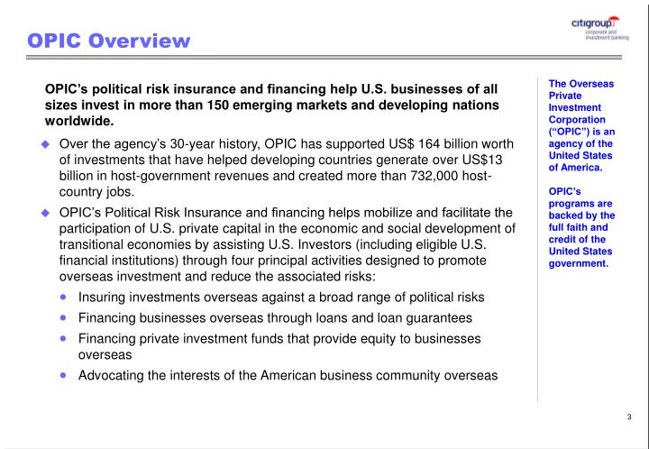 Opic overview