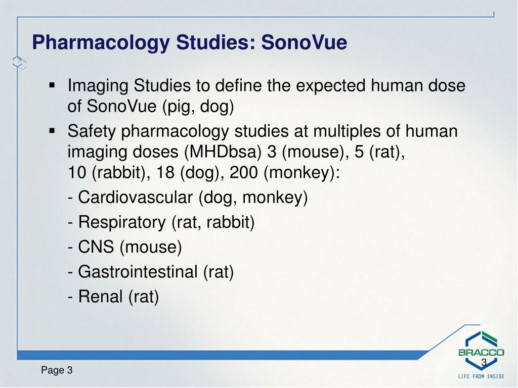 Imaging Studies to define the expected human dose of SonoVue (pig, dog)