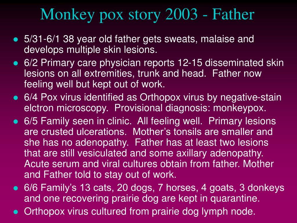 Monkey pox story 2003 - Father