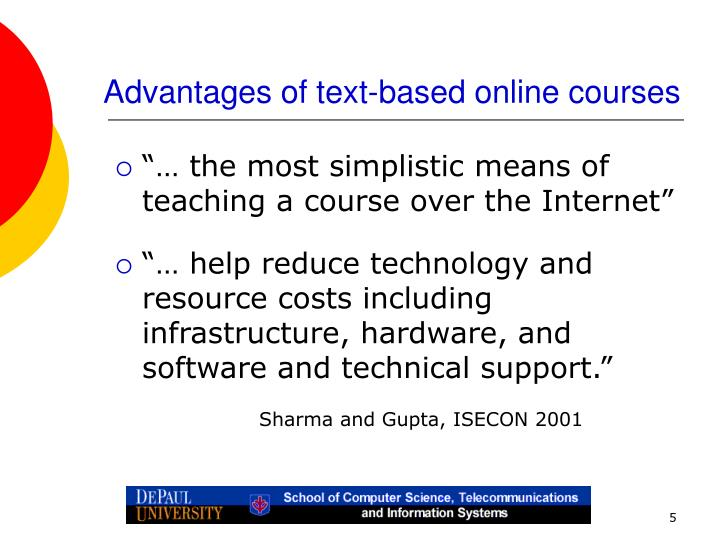 Advantages of text-based online courses