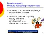 disadvantage 3 difficulty maintaining current content