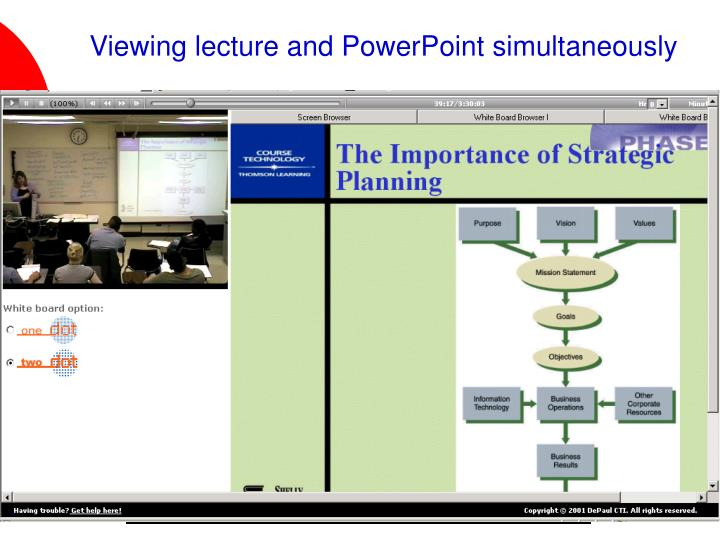 Viewing lecture and PowerPoint simultaneously