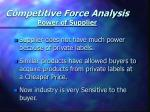 competitive force analysis power of supplier