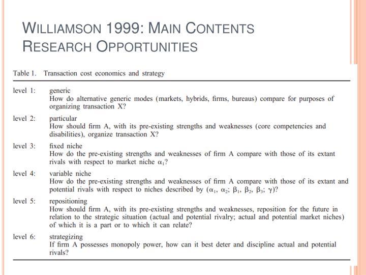 Williamson 1999: Main Contents