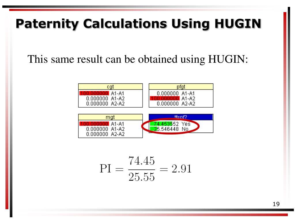 Paternity Calculations Using HUGIN