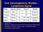 oral carcinogenicity studies lymphoma signal