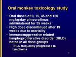 oral monkey toxicology study