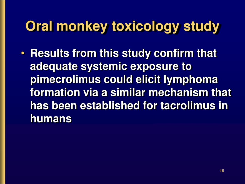 Oral monkey toxicology study