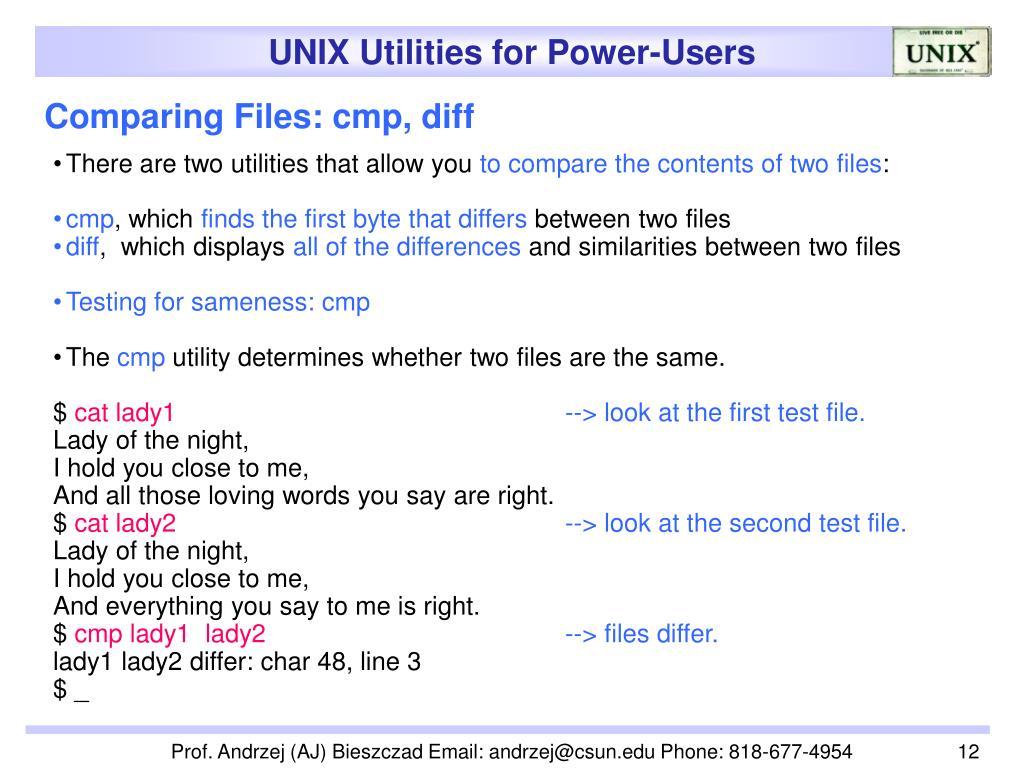 Comparing Files: cmp, diff