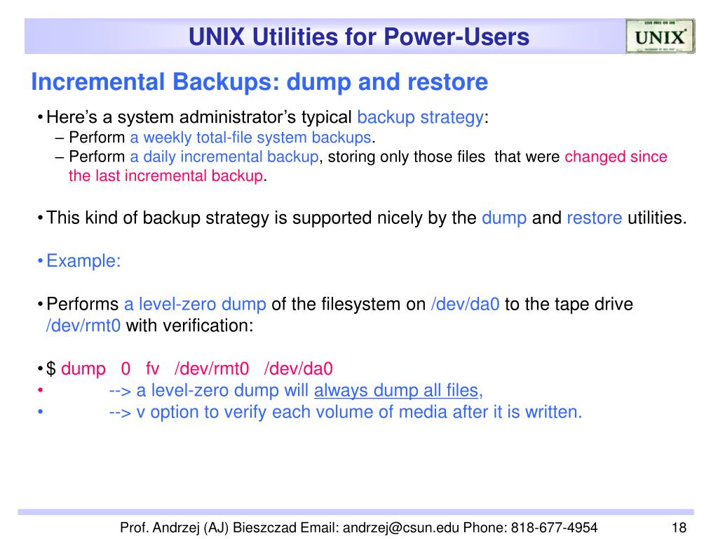 Incremental Backups: dump and restore