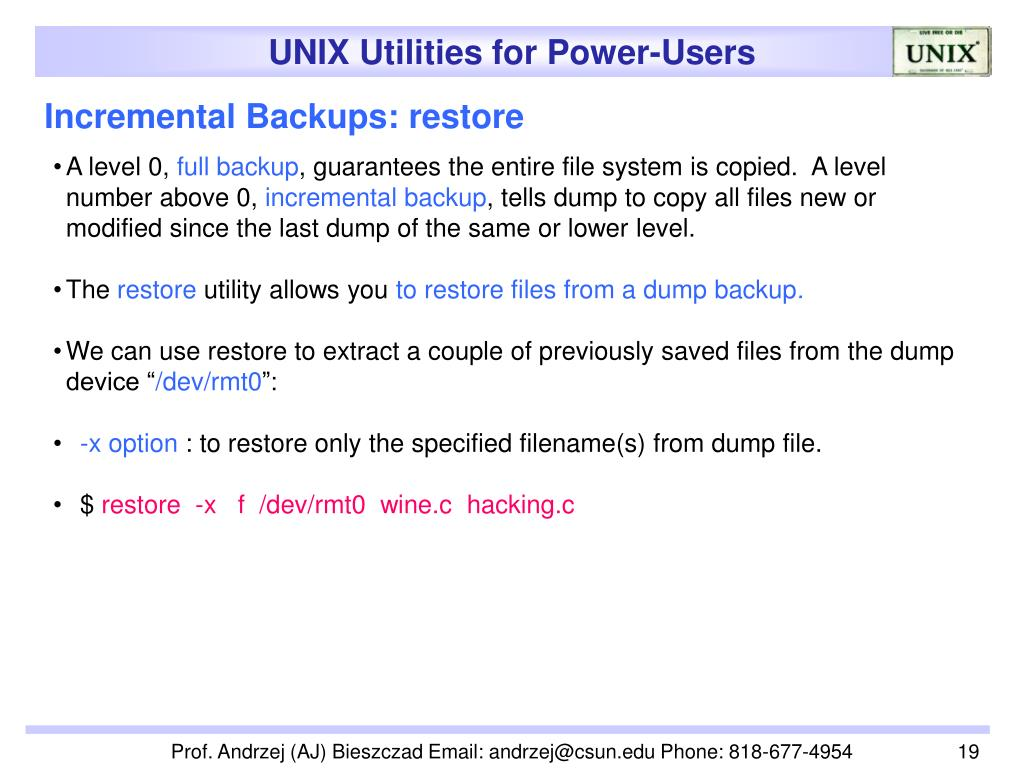 Incremental Backups: restore