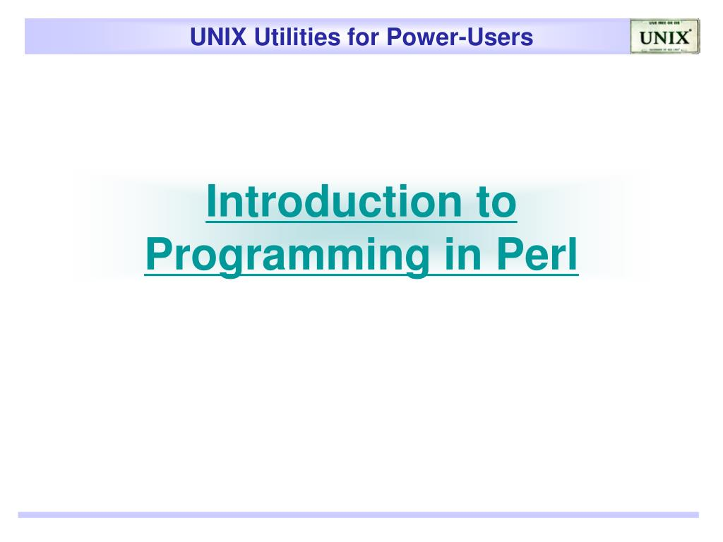 Introduction to Programming in Perl