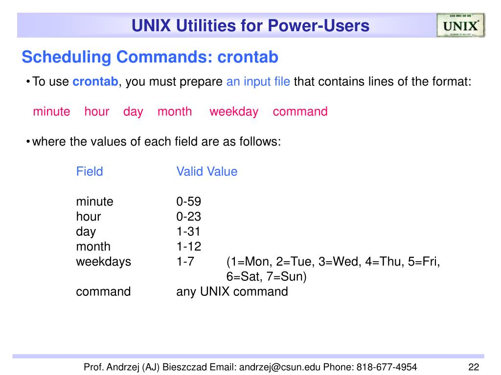 Scheduling Commands: crontab