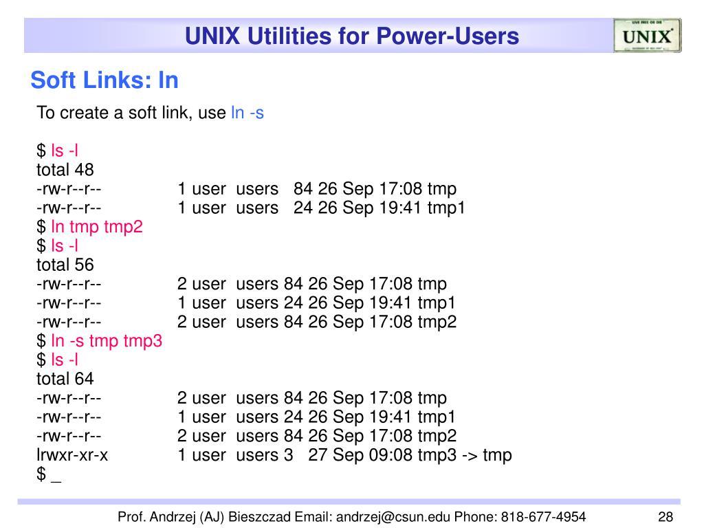 Soft Links: ln