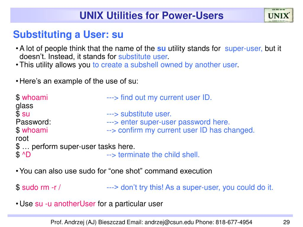 Substituting a User: su