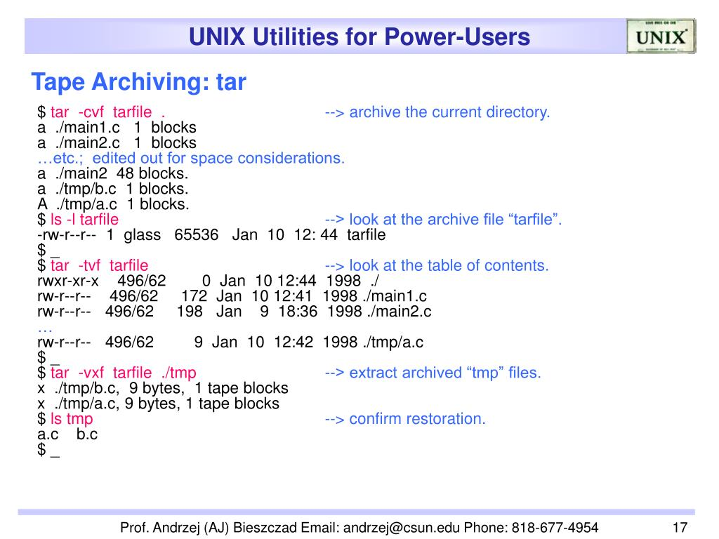 Tape Archiving: tar