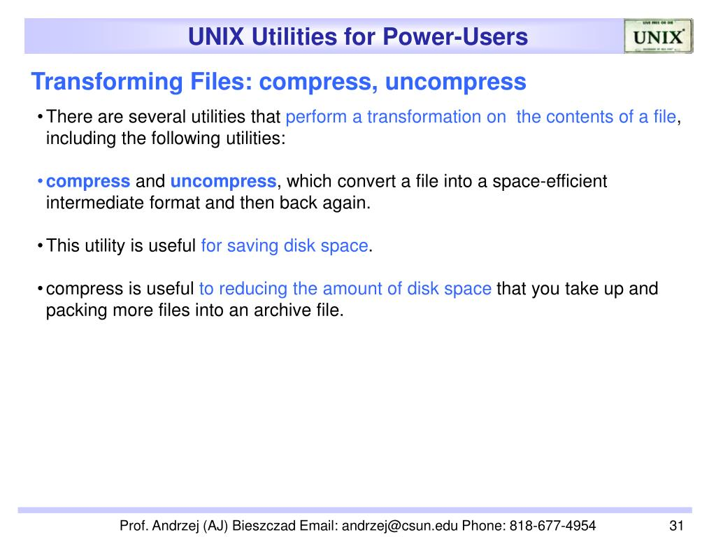 Transforming Files: compress, uncompress