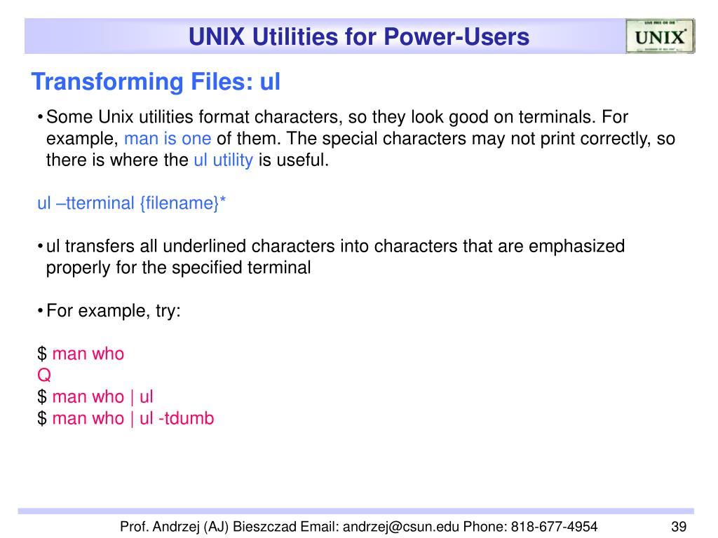 Transforming Files: ul