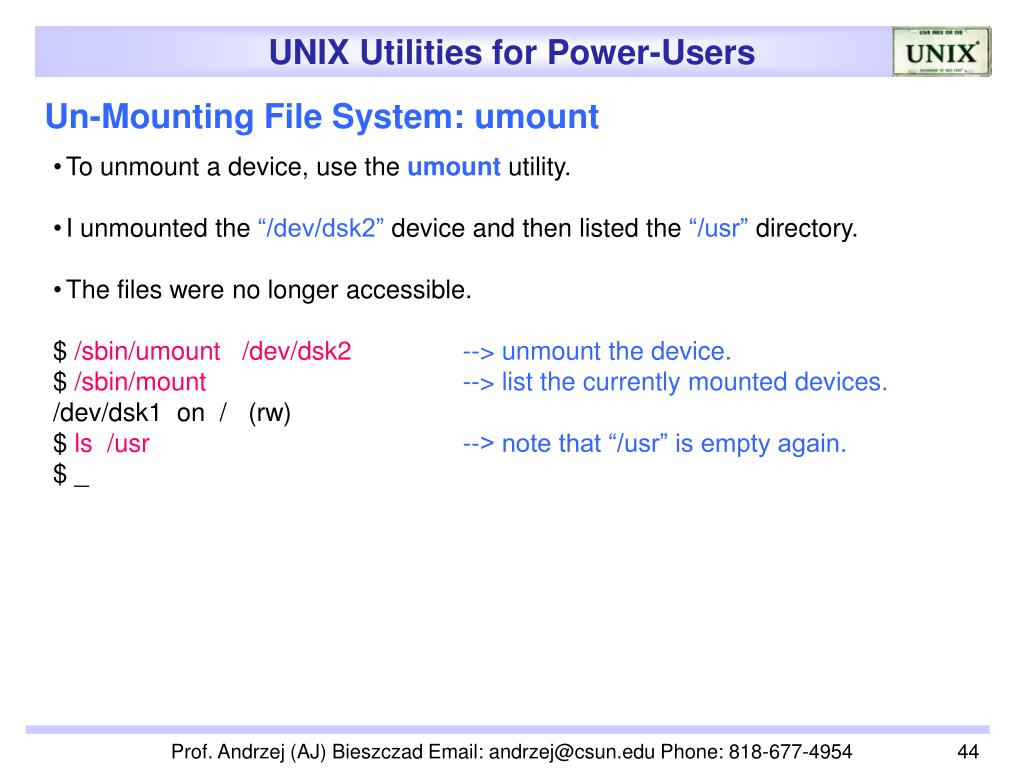 Un-Mounting File System: umount