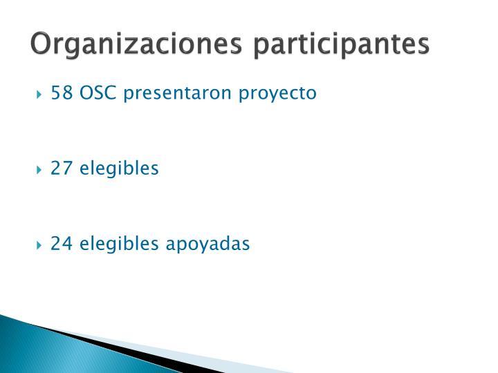 Organizaciones participantes