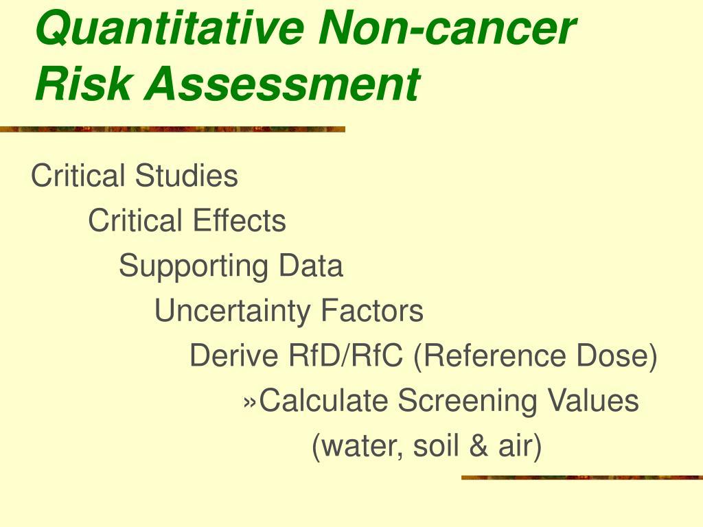 Quantitative Non-cancer Risk Assessment