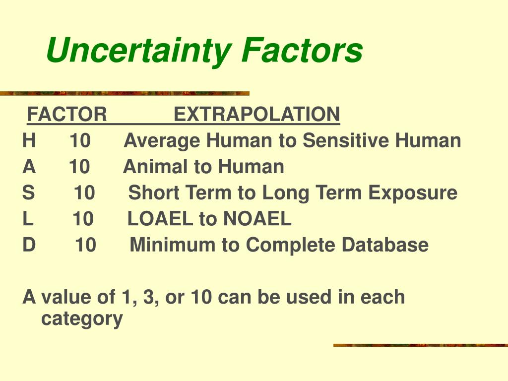 Uncertainty Factors