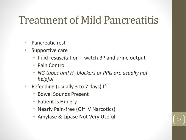 Treatment of Mild Pancreatitis