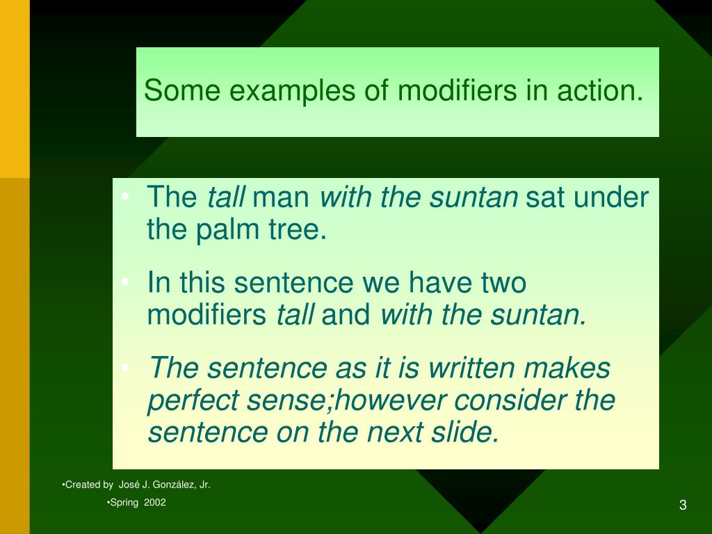 Some examples of modifiers in action.