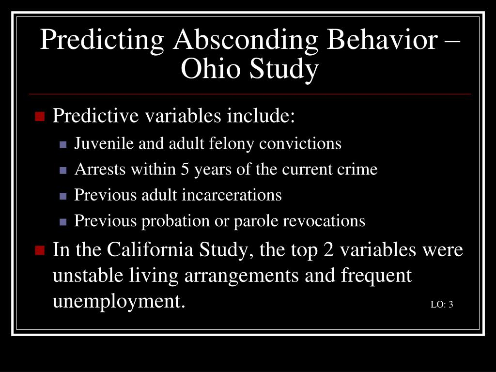 Predicting Absconding Behavior – Ohio Study