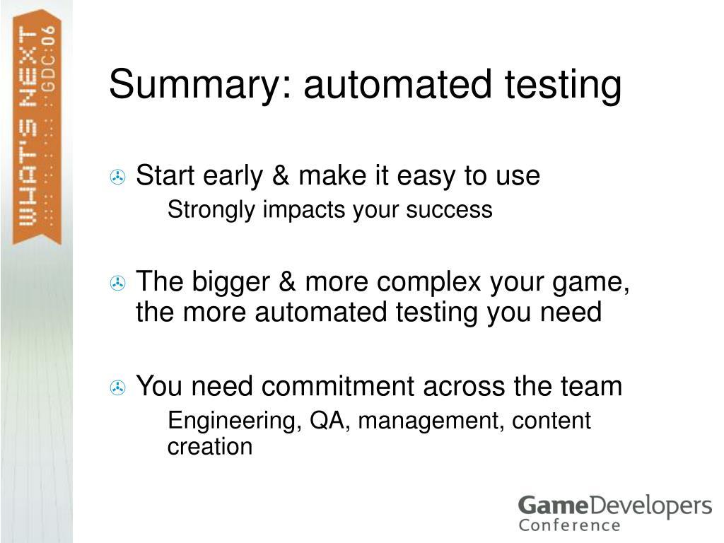 Summary: automated testing