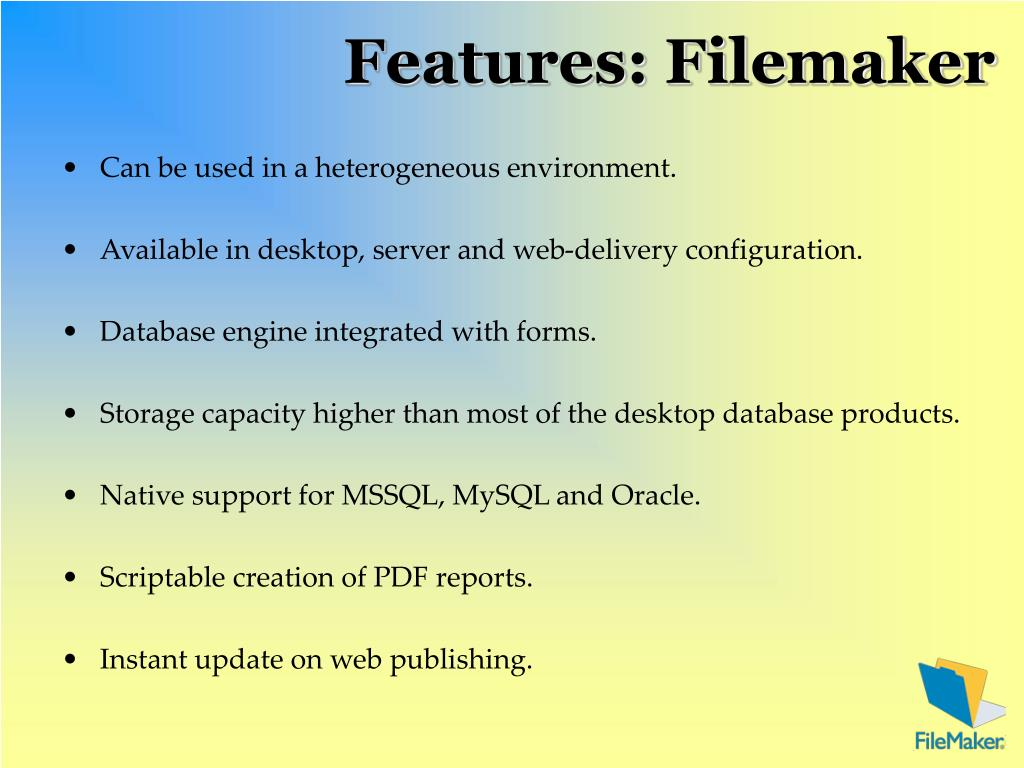 Features: Filemaker