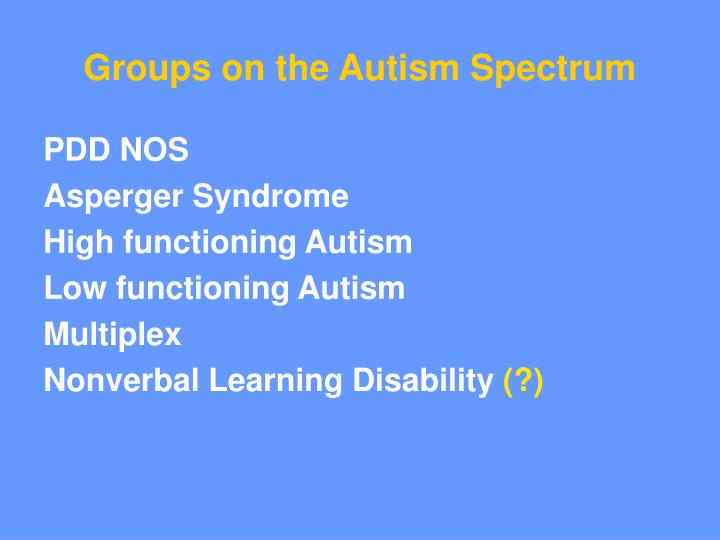 Groups on the Autism Spectrum